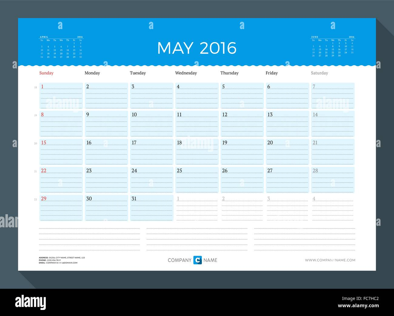may 2016 monthly calendar planner for 2016 year vector design