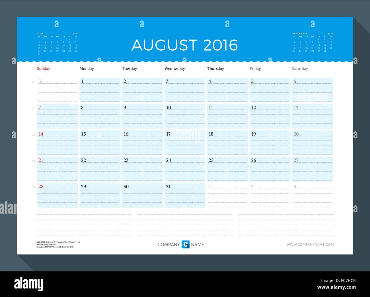 august 2016 monthly calendar planner for 2016 year vector design