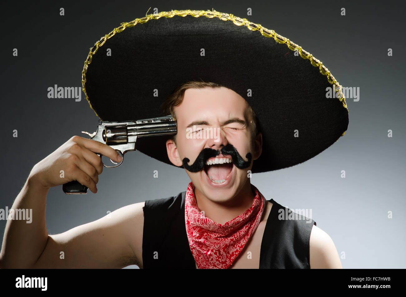 Funny guy wearing sombrero hat Stock Photo  93595415 - Alamy 1b133d03d44