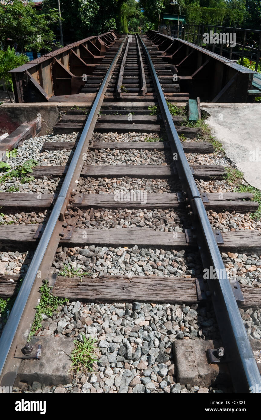 Rail track crossing small canal - Stock Image