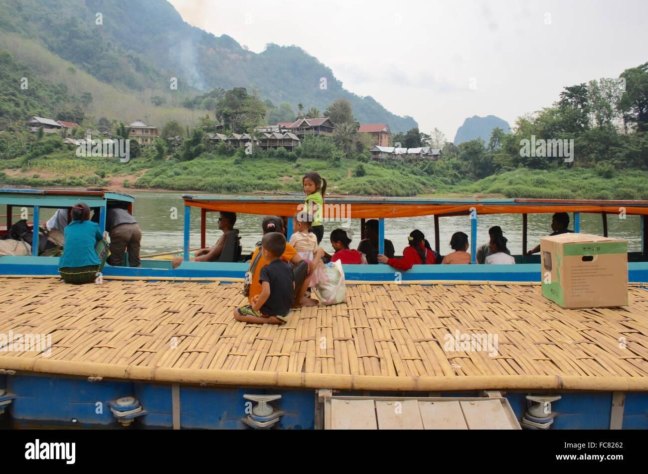 River Life Nong Khiaw Laos - Stock Image