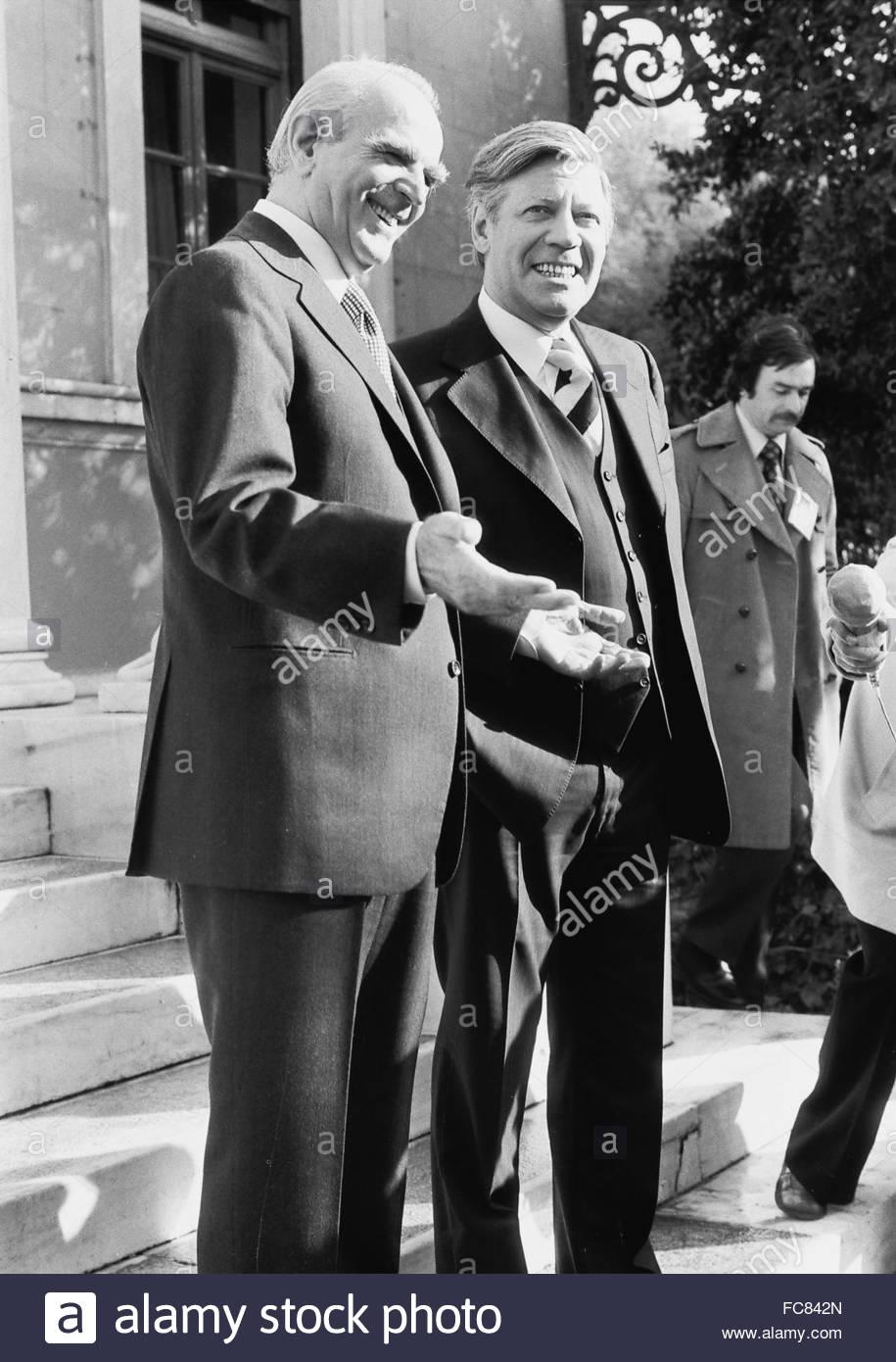 Helmut Schmidt with Konstantinos Karamanlis Athens Greece 1978 - Stock Image