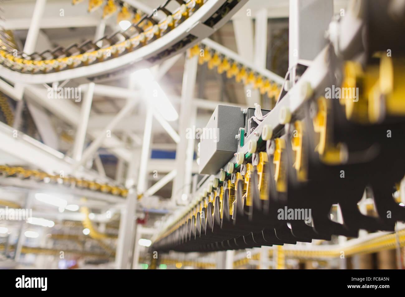 Printing press conveyor belts in printing plant - Stock Image