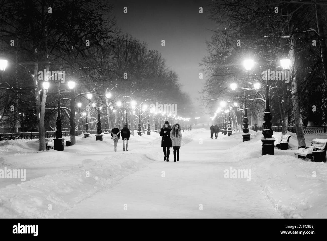 People walk along an illuminated boulevard at night in the winter snow as ornate street lamps illuminate their path - Stock Image
