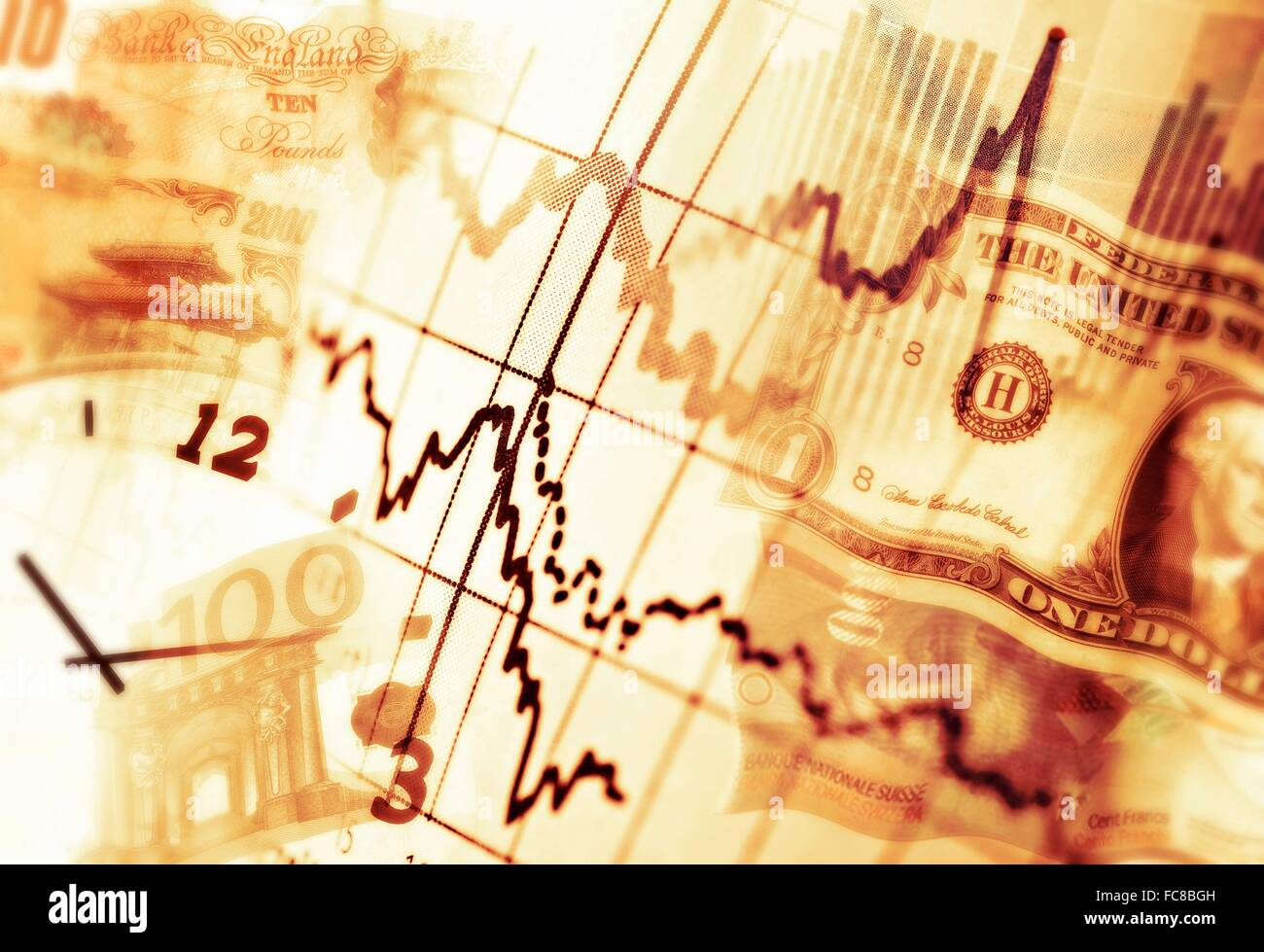 Diagrams, notes in various currencies and a clock as a symbol of the changes on the markets. - Stock Image