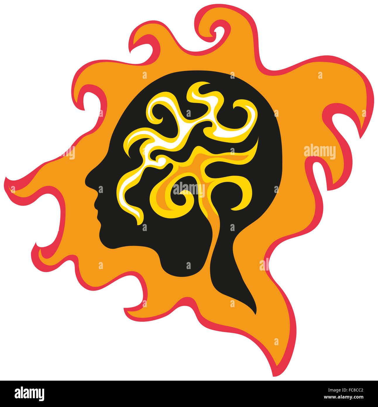 Graphic winding profile portrait, a silhouette in flames, retro style. - Stock Image