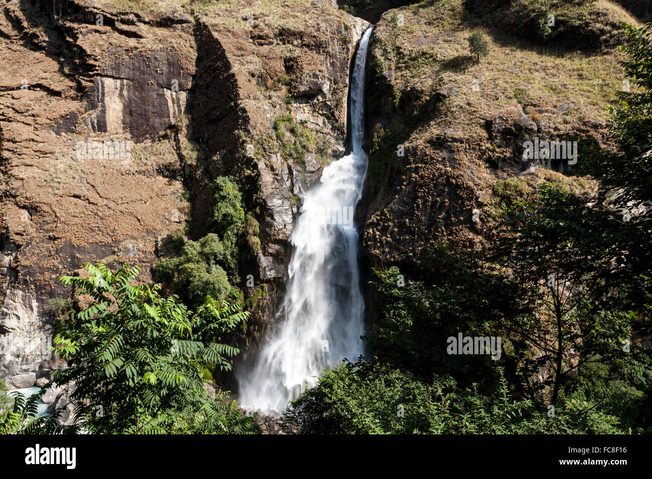 Waterfall in Nepal, Annapurna Conservation Area Stock Photo