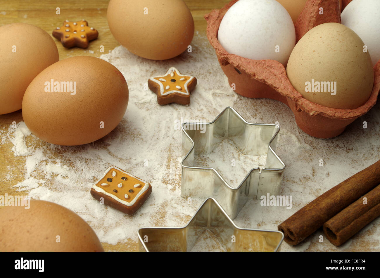 eggs and cookie cutters - Stock Image