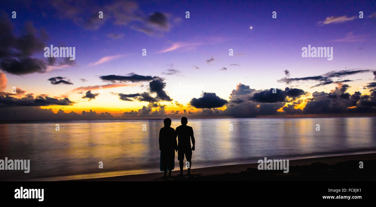 Family greeted the dawn - Stock Image