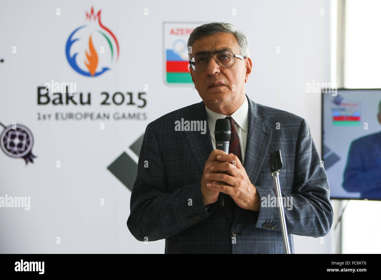 Azerbaijan National Olympic Committee Vice President Chingiz Huseynzade at an event for Azerbaijan medallists. Olympic - Stock Image