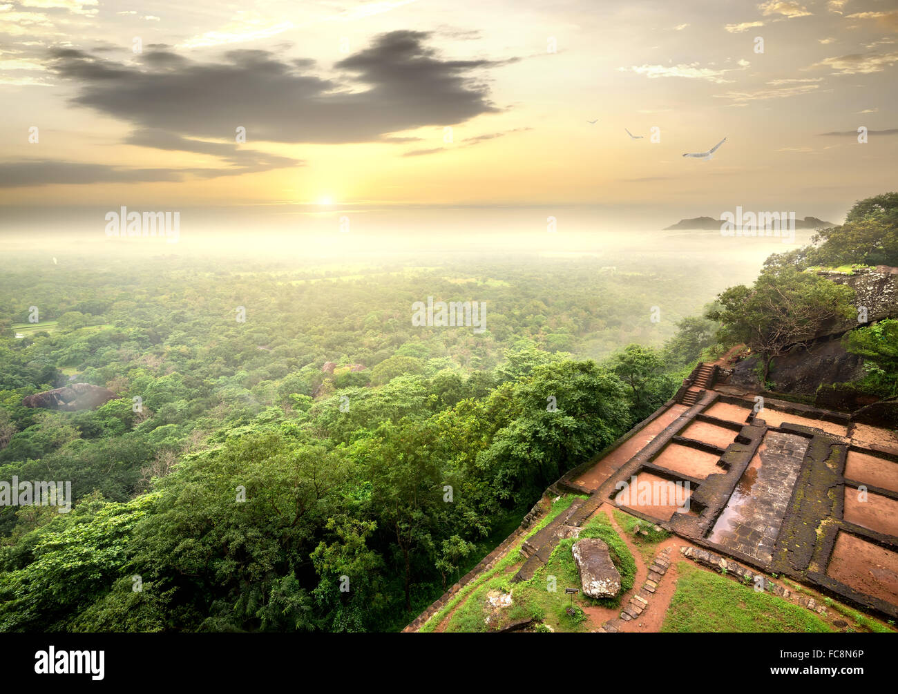 Ruins of prison on Sigiriya in Sri Lanka - Stock Image