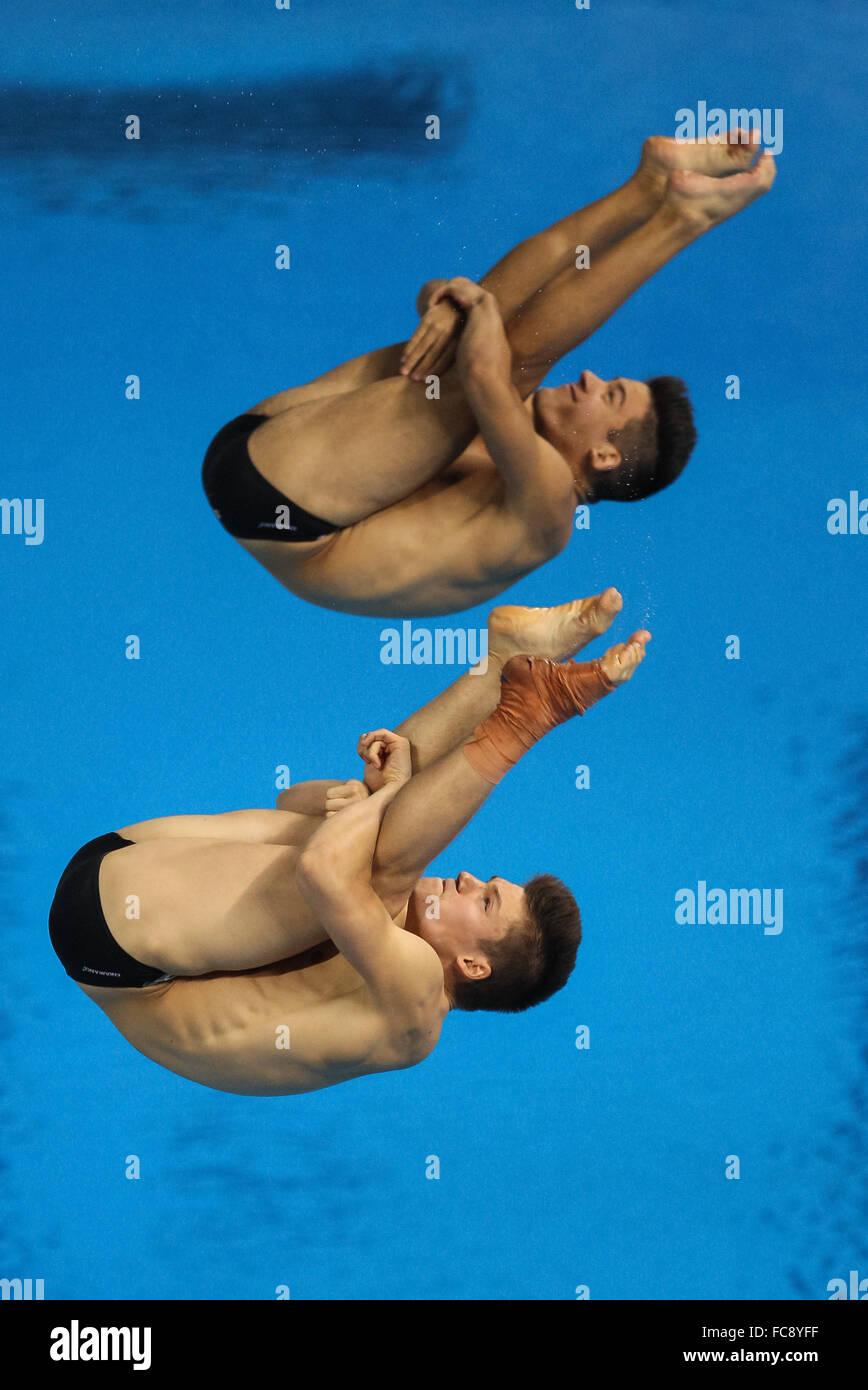 Fabian Stepinski (SUI) and Jan Wermelinger (SUI). Final. Men's Synchronised 3m Springboard. Baku Aquatics Centre. - Stock Image