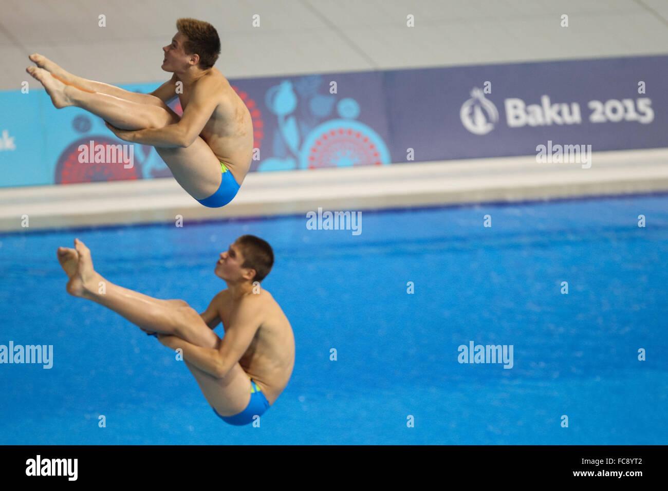 Nikita Kryvopyshyn (UKR) and Vitalii Levchenko (UKR). Final. Men's Synchronised 3m Springboard. Baku Aquatics - Stock Image