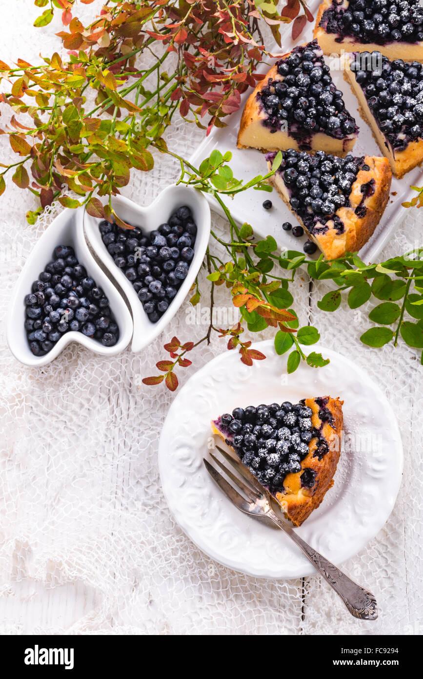Cheesecake blueberries - Stock Image