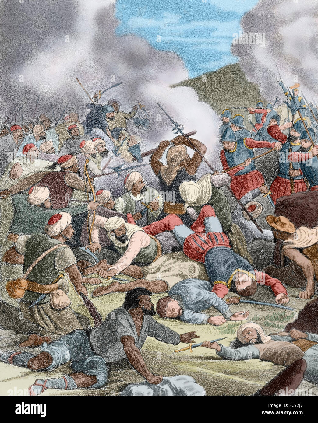 Spain. 15th century. Insurrection of the Moors in Valencia. Fighting in the battlefield against the Christians. - Stock Image