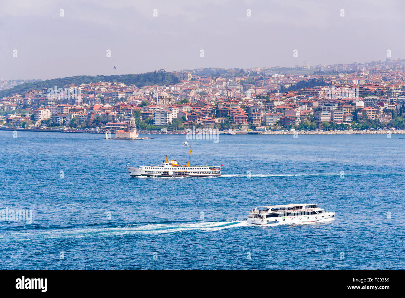 Asian side of Istanbul across the Bosphorus Strait seen from The Topkapi Palace, Istanbul, Turkey, Europe - Stock Image