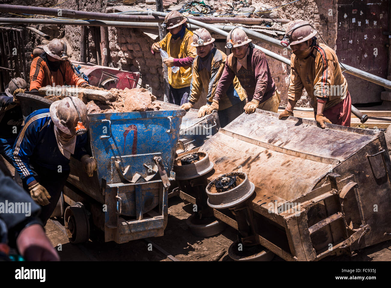 Miners working at Potosi silver mines, Department of Potosi, Bolivia, South America - Stock Image