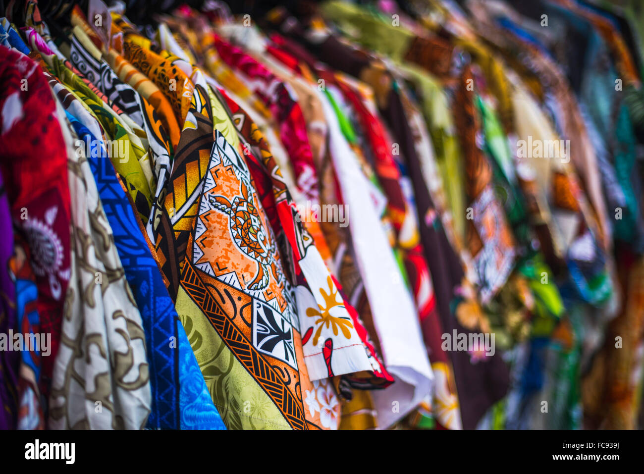 Hawaiian shirts for sale at Rarotonga Saturday Market (Punanga Nui Market), Avarua Town, Cook Islands, South Pacific, - Stock Image