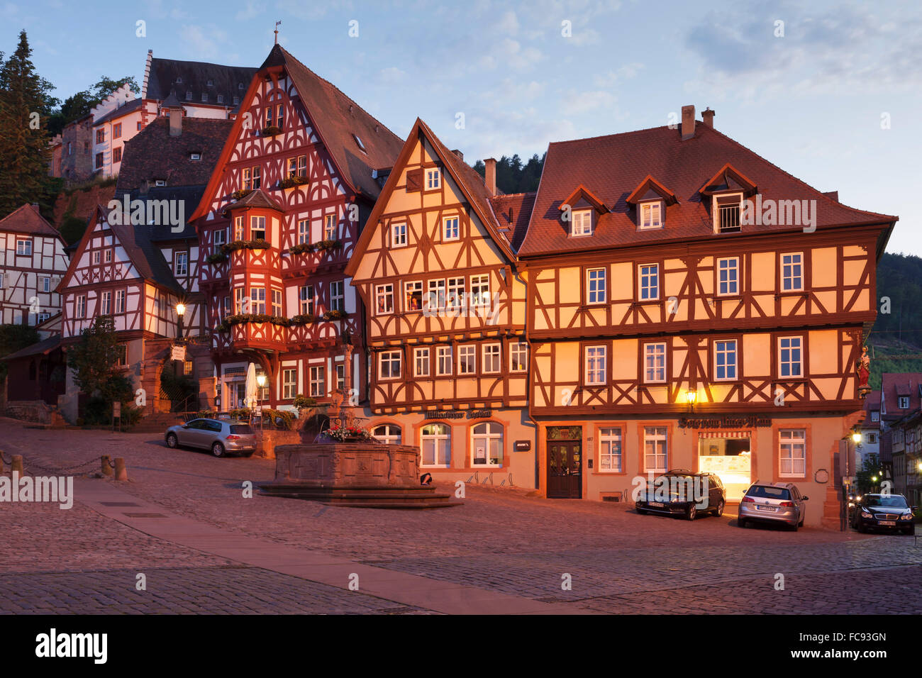 Market Square with half-timbered houses and Mildenburg Castle, old town of Miltenberg, Franconia, Bavaria, Germany, - Stock Image