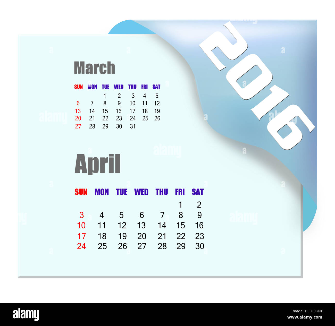 April 2016 calendar with past month series - Stock Image