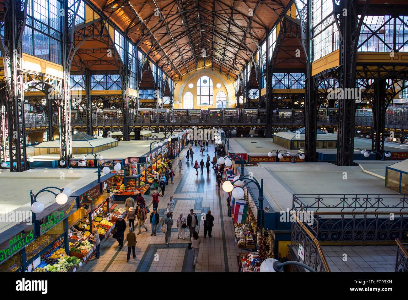 Grand market hall, Budapest, Hungary, Europe - Stock Image
