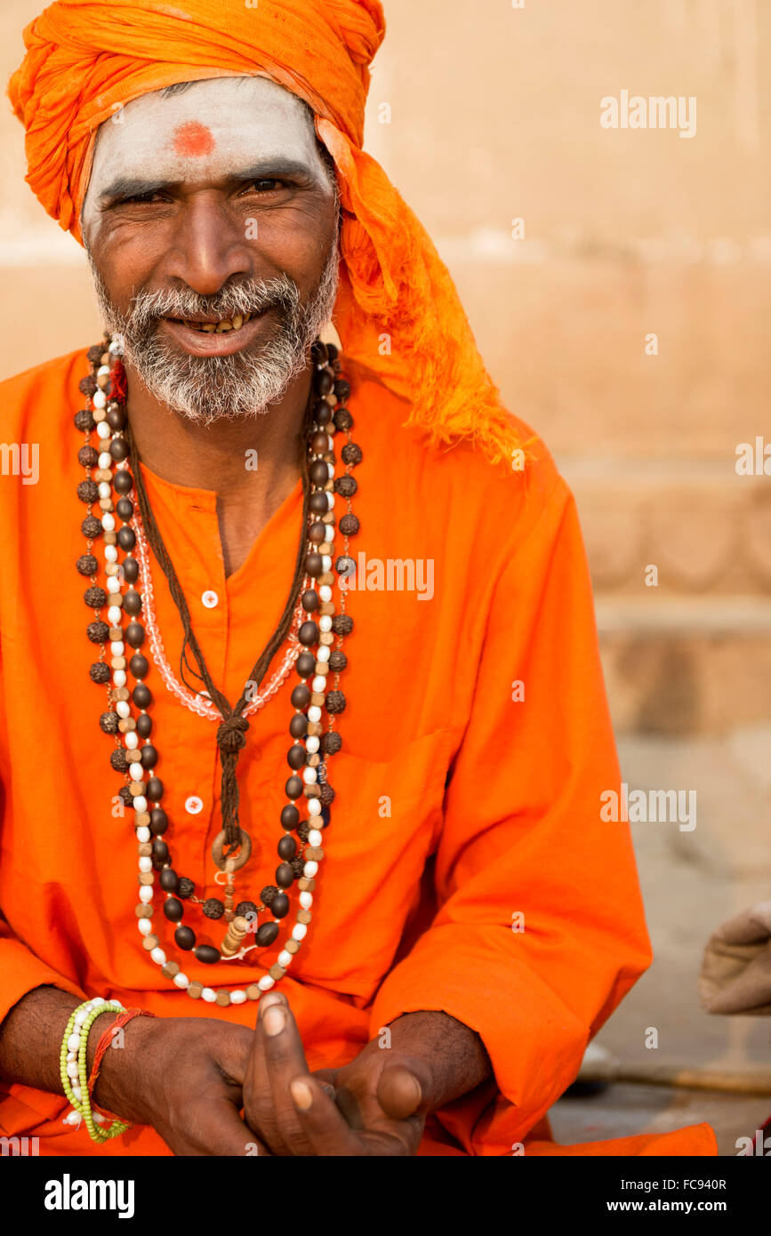 Sadhu on the banks of the Ganges, Varanasi (Benares), Uttar Pradesh, India, Asia - Stock Image