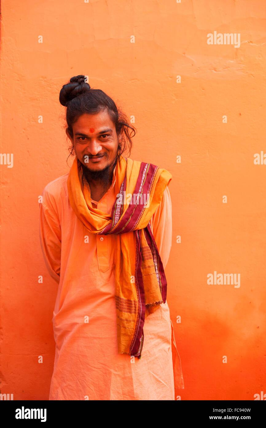 Sadhu, Varanasi (Benares), Uttar Pradesh, India, Asia Stock Photo