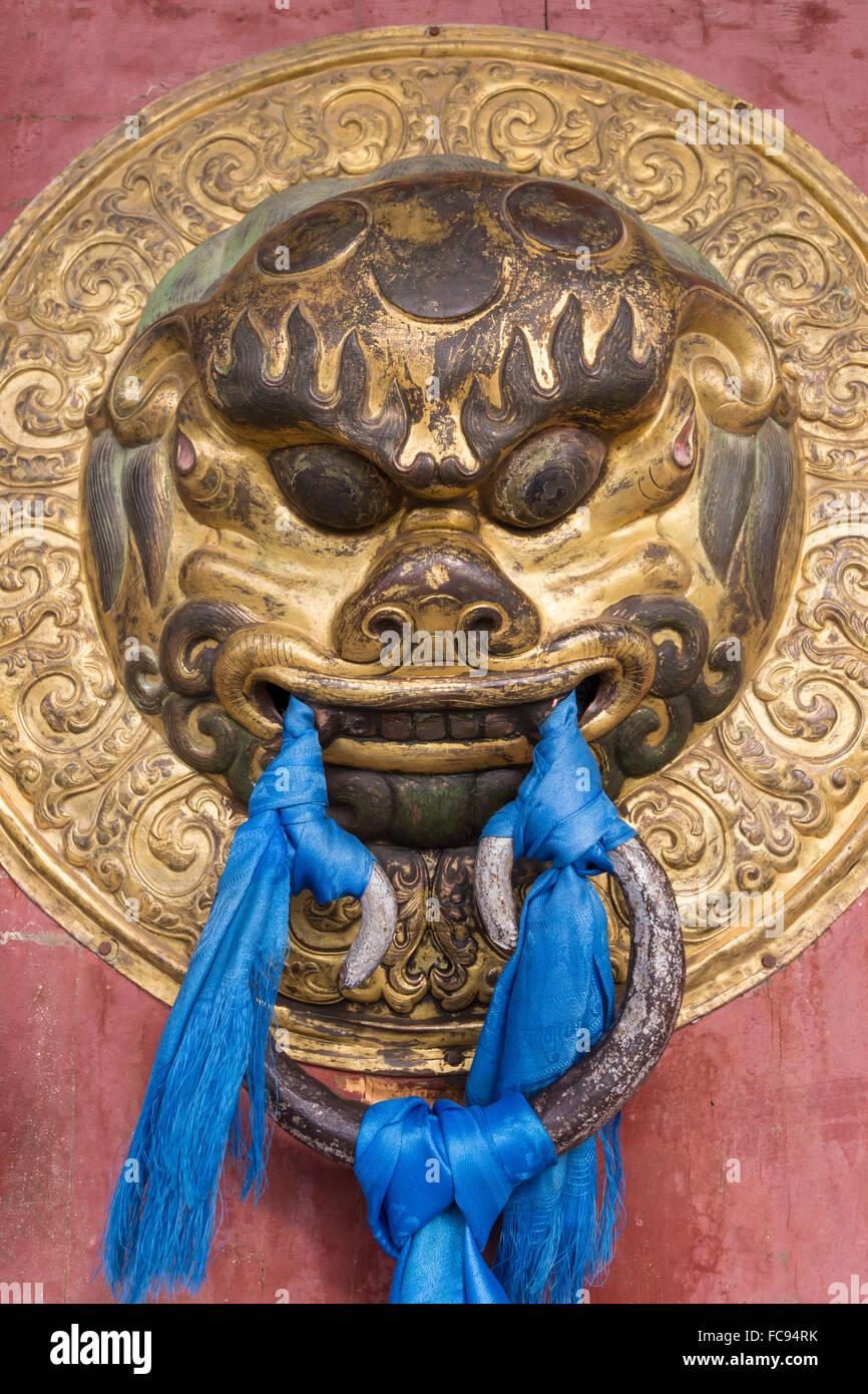 Ornate door handle, Erdene Zuu Khiid, Buddhist Monastery, Kharkhorin (Karakorum), Central Mongolia, Central Asia, - Stock Image