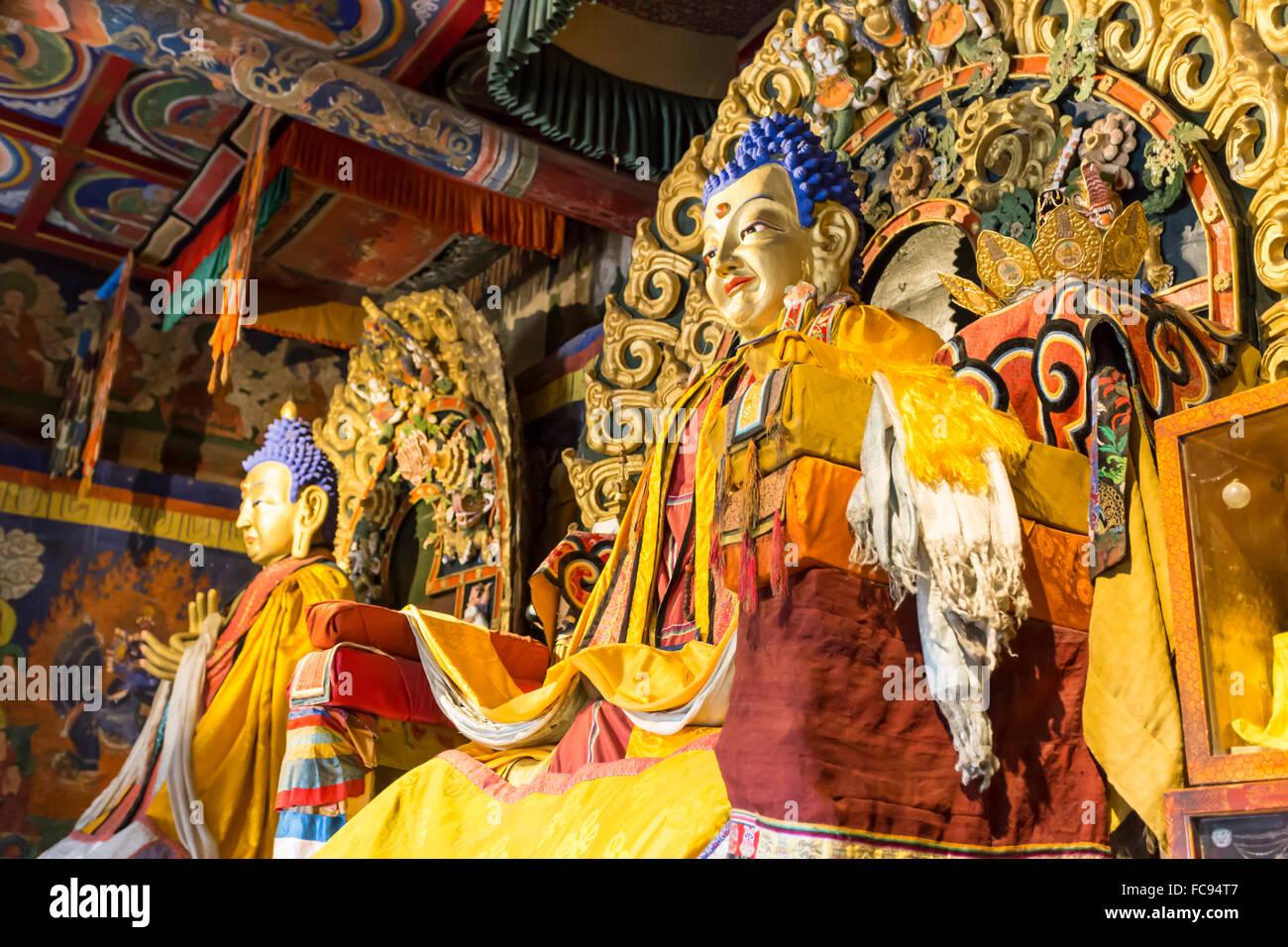 Golden Buddha statues, Baruun Zuu temple, Erdene Zuu Khiid, Monastery, Kharkhorin (Karakorum), Central Mongolia, - Stock Image