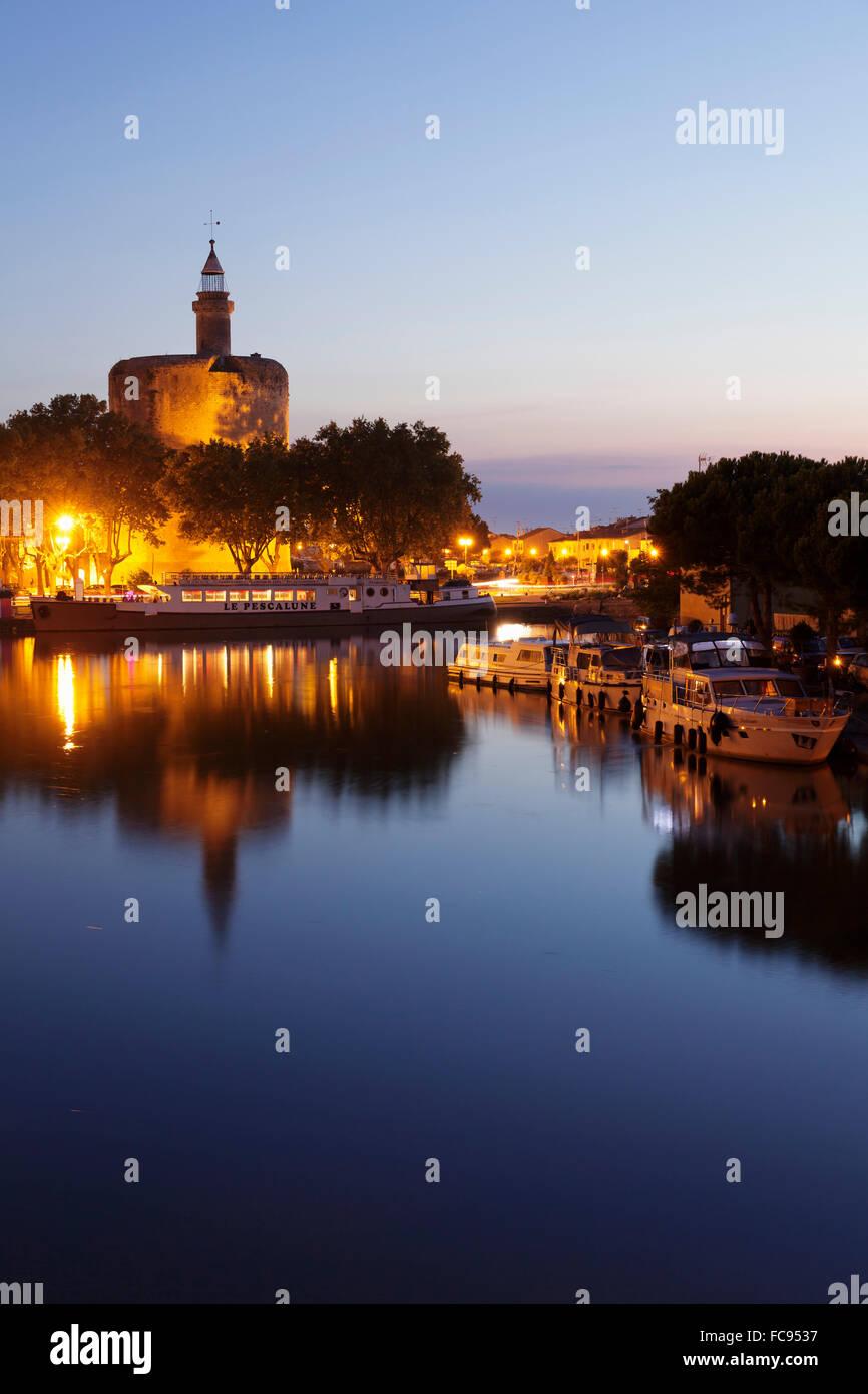 Tour de Constance tower, Aigues Mortes, Petit Camargue, Department Gard, Languedoc-Roussillon, France, Europe - Stock Image