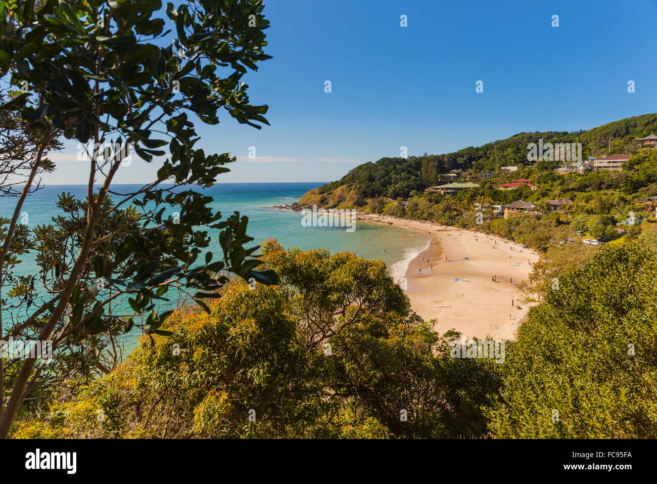 Wategos Beach, at Byron Bay, on a beautiful blue day, hidden paradise, New South Wales, Australia, Pacific - Stock Image