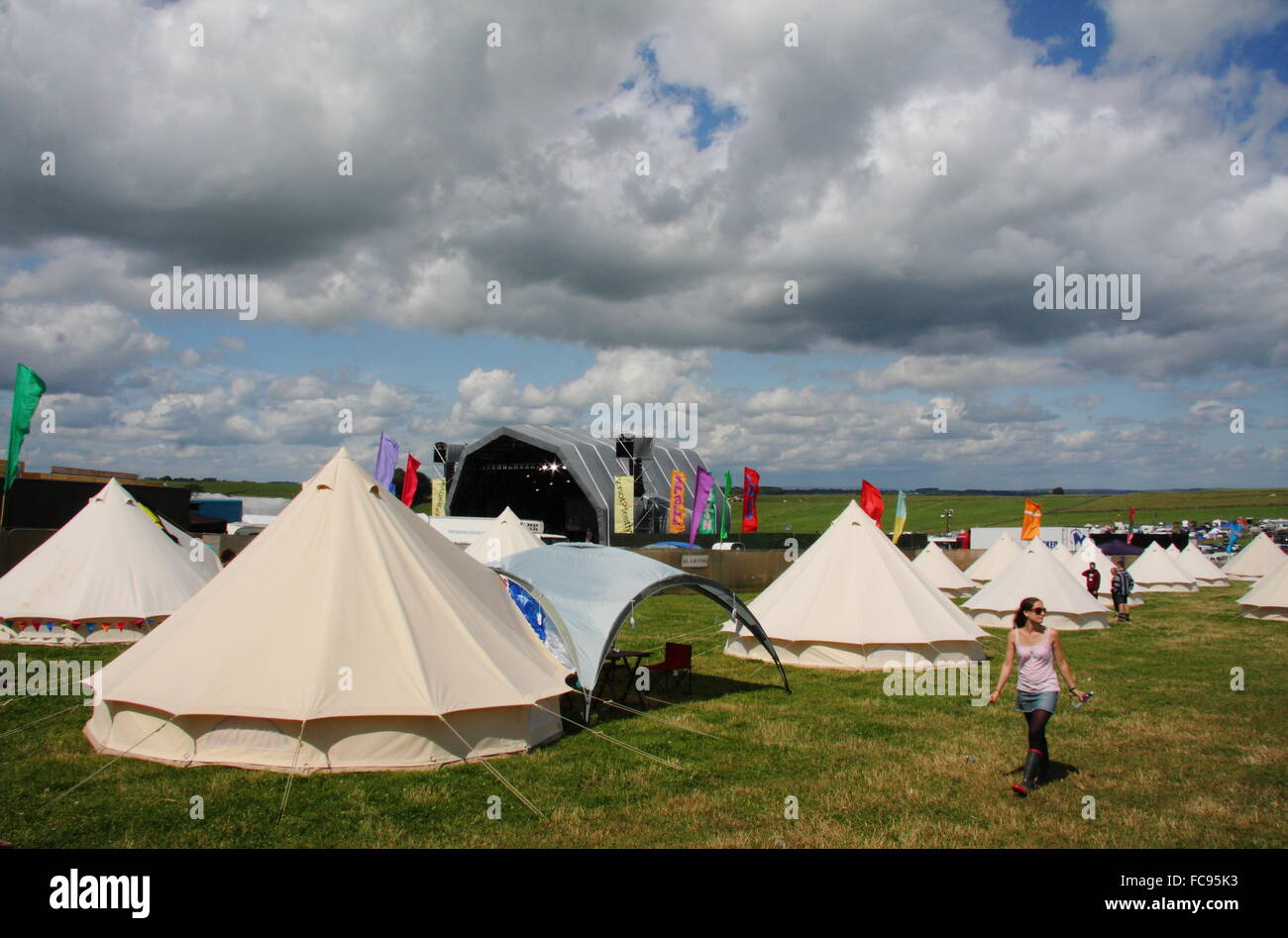 The Glamping area at the Y Not music festival, Derbyshire that provides luxury camping facilities to festival goers, - Stock Image