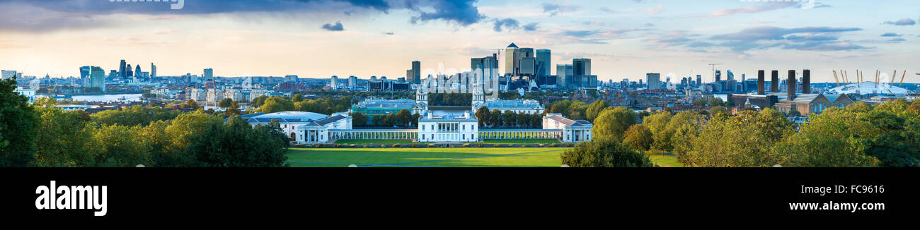 View of Canary Wharf from Greenwich Observatory, Greenwich, London, England, United Kingdom, Europe - Stock Image