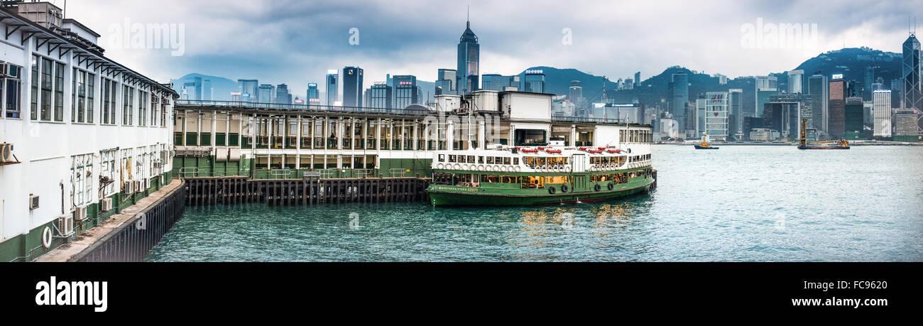Hong Kong skyline from Star Ferry Terminal, Kowloon, Hong Kong, China, Asia Stock Photo