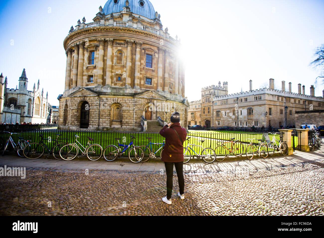 Radcliffe Camera, from St. Marys Church, Oxford, Oxfordshire, England, United Kingdom, Europe - Stock Image