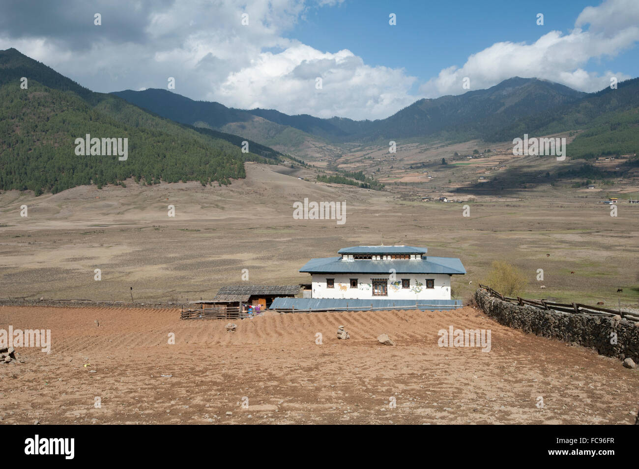 Small farmstead in the wide and shallow Phobjikha Valley, where the black-necked crane spends the summer, Phobjikha, - Stock Image