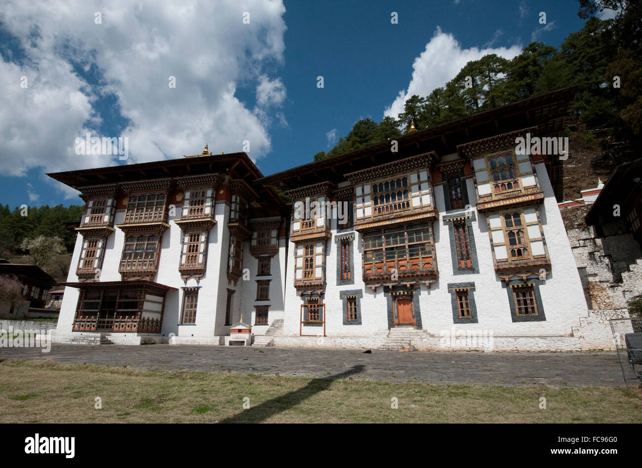 Kurjey Lakhang, the final resting place of the first three kings of Bhutan, Bumthang Valley, Bhutan, Asia - Stock Image