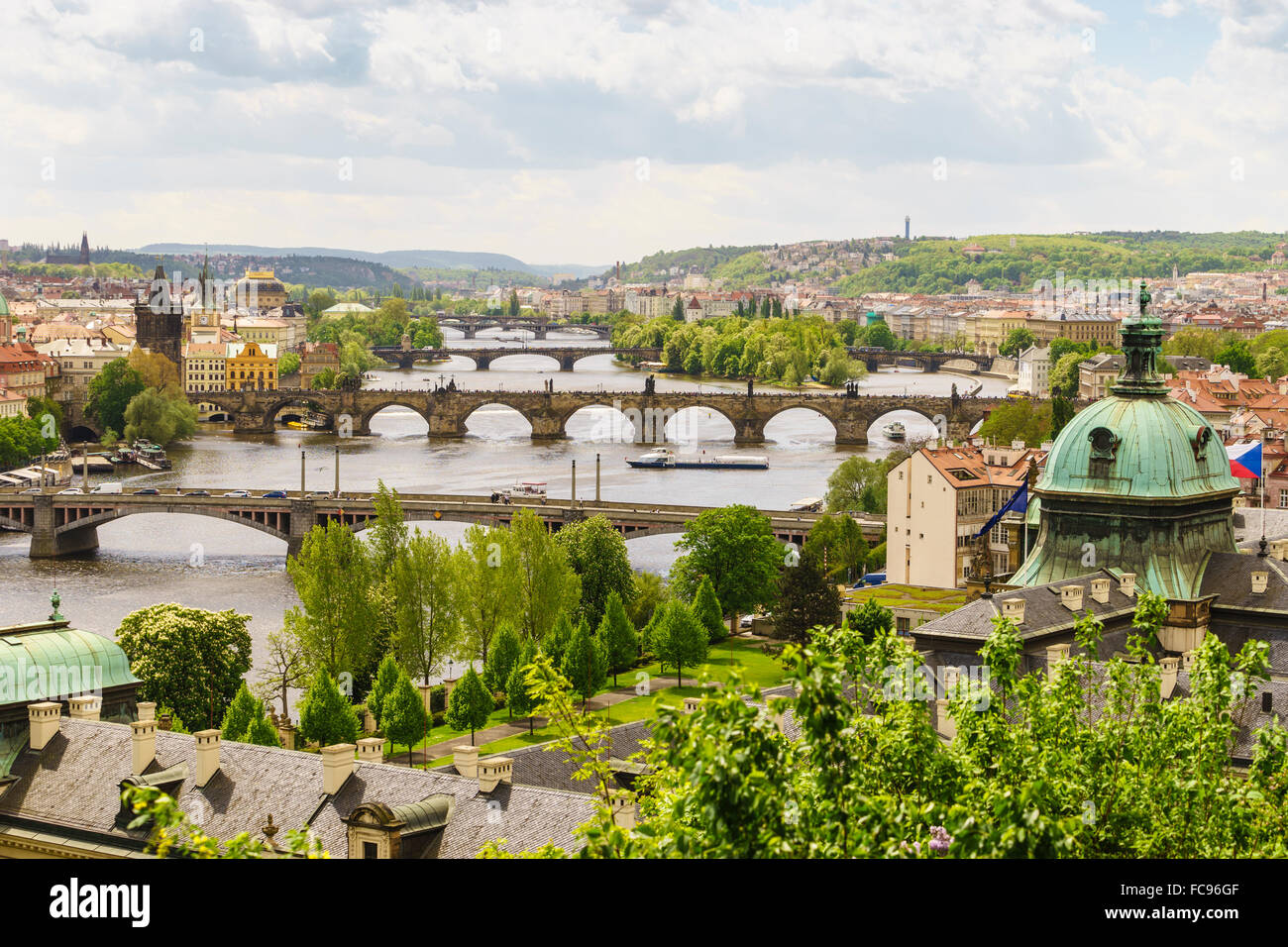 Prague cityscape looking down the Vltava River, Prague, Czech Republic, Europe - Stock Image