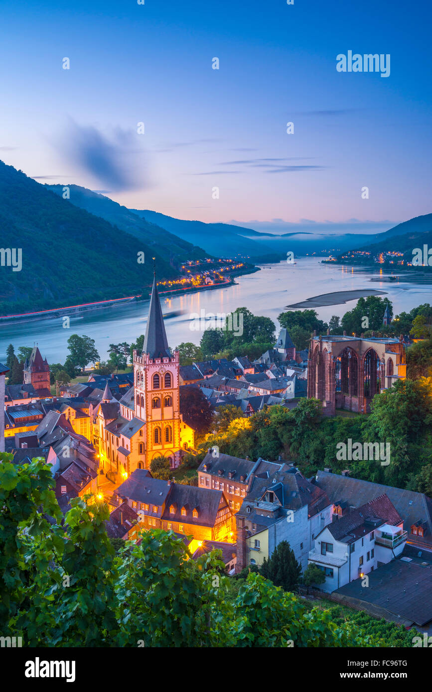 Bacharach on the River Rhine, Rhineland Palatinate, Germany, Europe - Stock Image