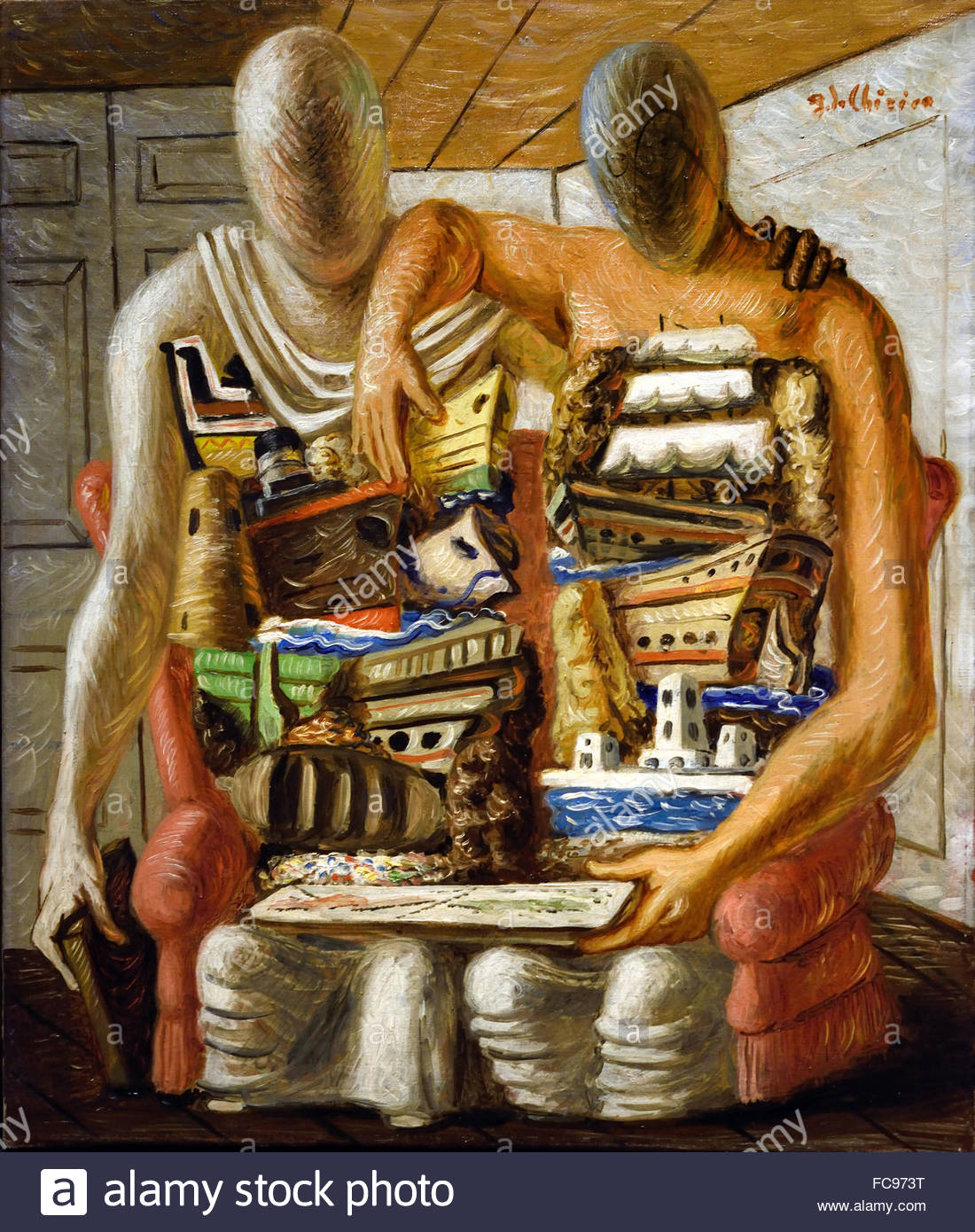 Two Figures 1920 Giorgio de Chirico 1888 - 1978  Surrealist Italian painter - Stock Image