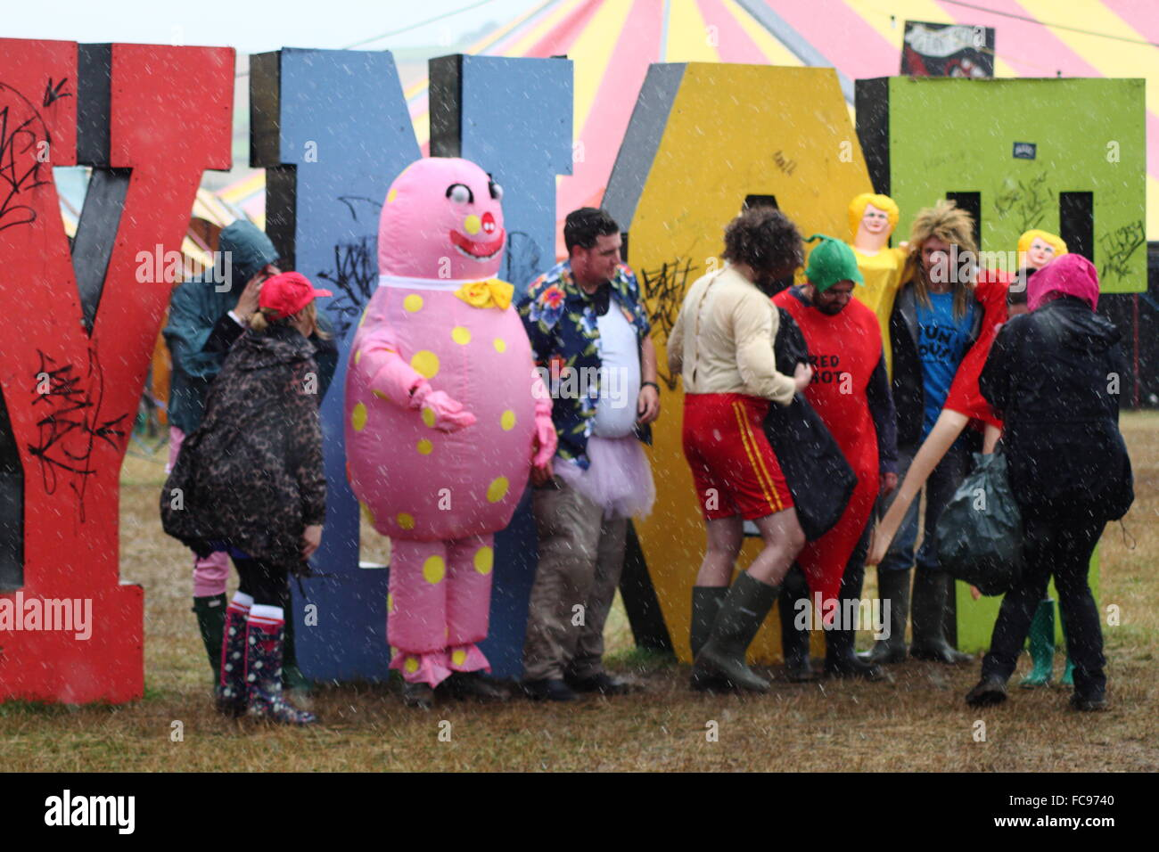 Festival goers take part in the  fancy dress day at the Y Not music festival in the Peak District, Derbyshire England - Stock Image