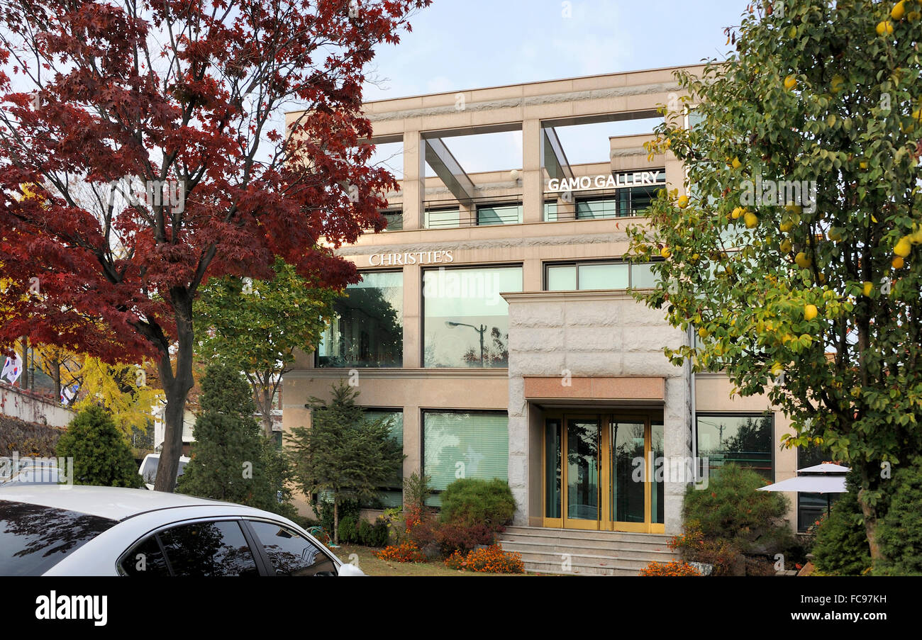 Seoul, South Korea-November 11, 2015: Exterior of Christie's Seoul and the GAMO Gallery in Sam-cheong Art District. - Stock Image