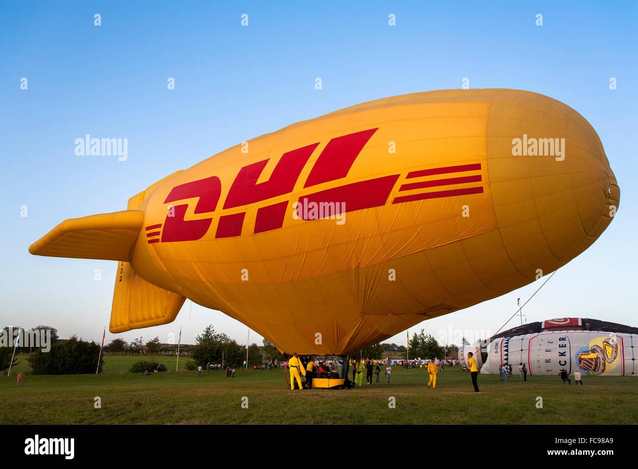 DEU, Germany, Sauerland region, Warstein, international balloon festival in Warstein, blimp of DHL [the balloon - Stock Image