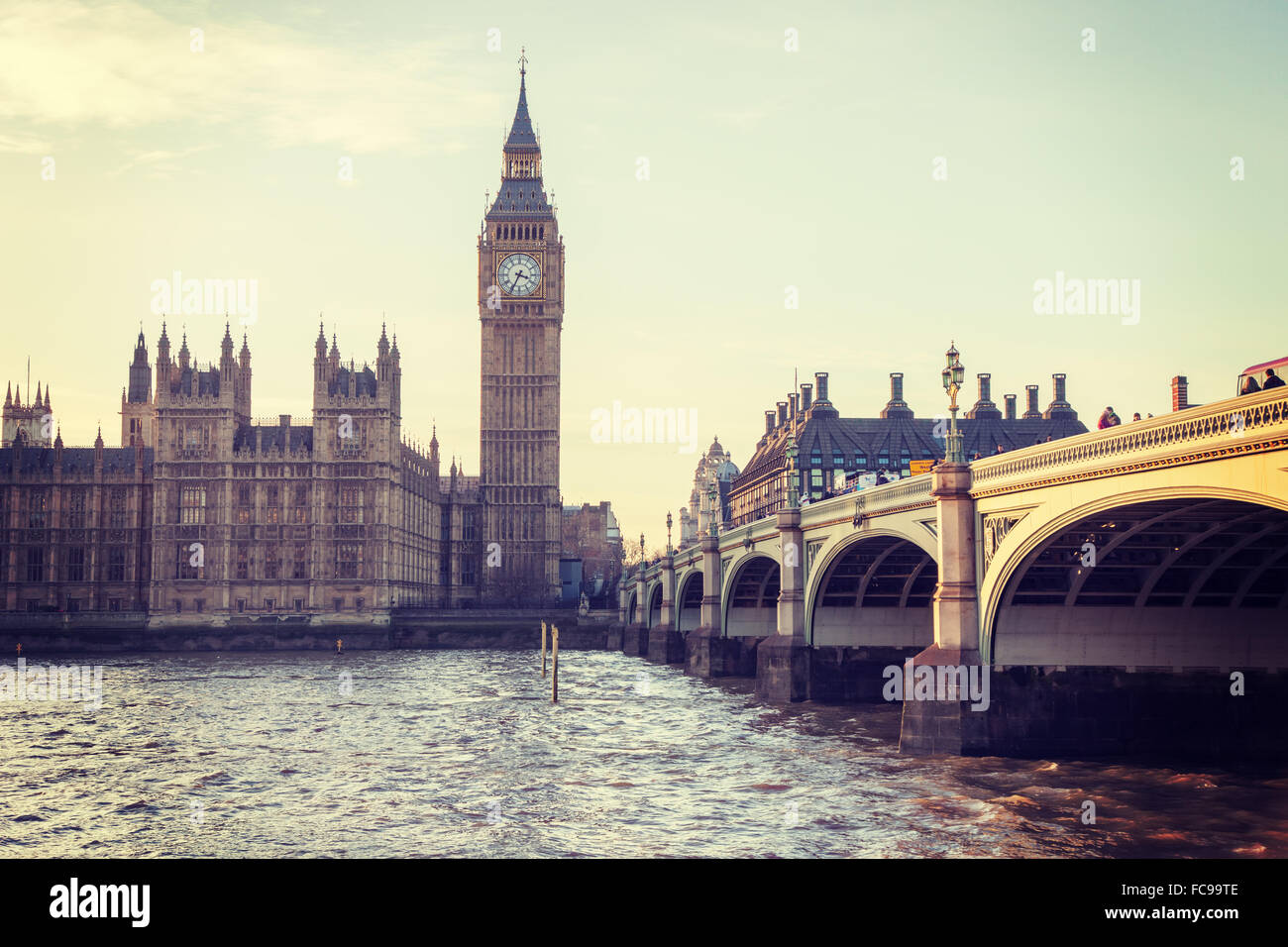Big Ben and Westminster Bridge in Central London - Stock Image