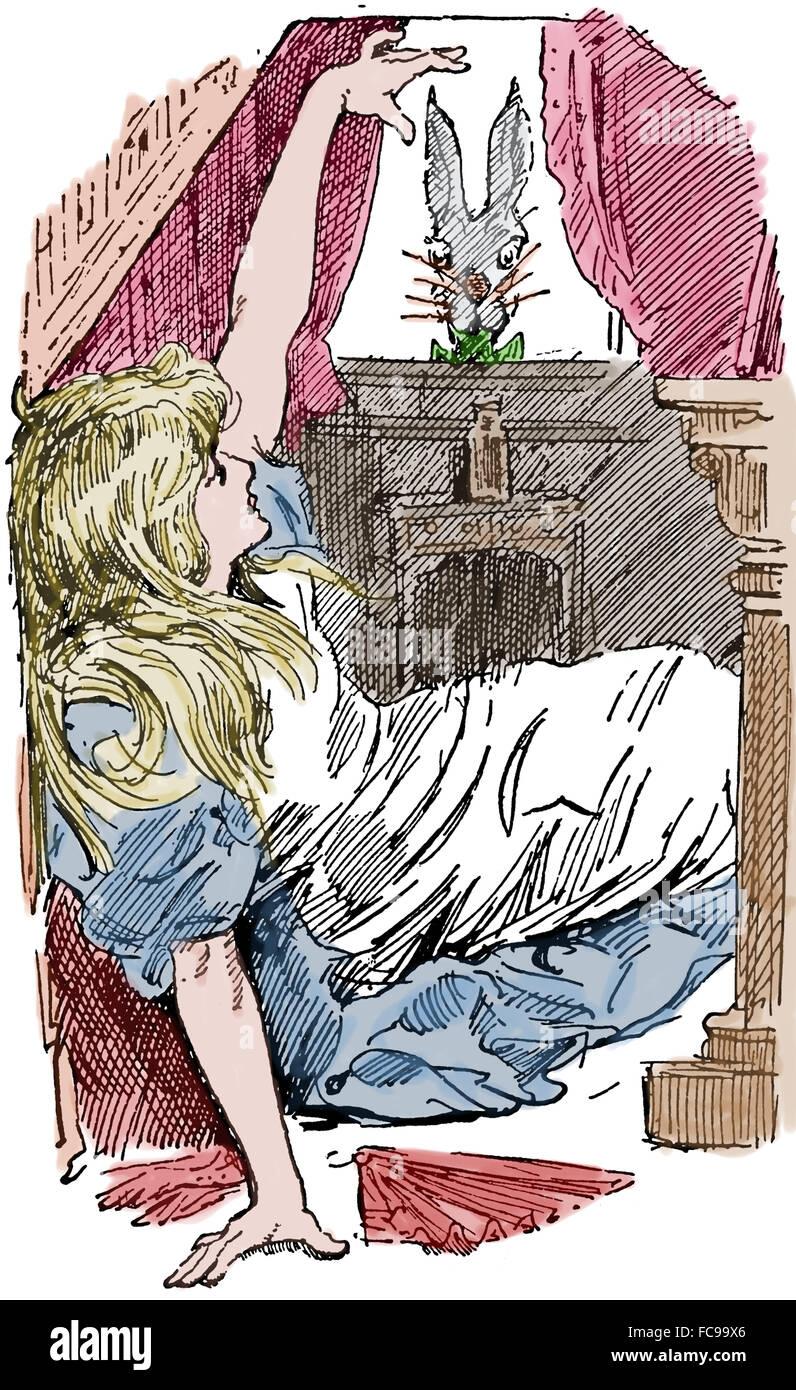 Alice's Aventures in Wonderland by Lewis Carrol (1832-1898). Scene . Engraving. Color. - Stock Image