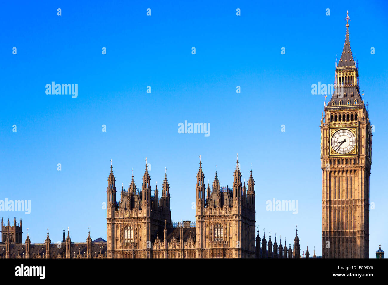 Famous Big Ben in Central London - Stock Image