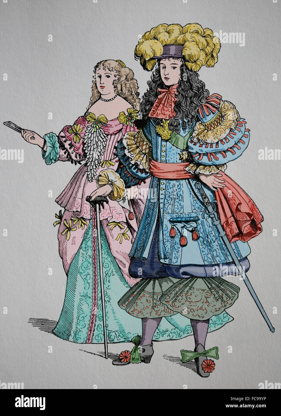 King Louis XIV of France (1638-1715), know the Sun King. House of Bourbon. Absolute monarchical. Engraving. Color. - Stock Image