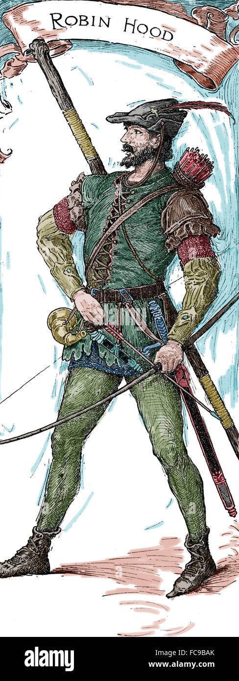 Robin Hood. Heroic outlaw in English folklore. Archer and swordsman. Engraving. Color. - Stock Image