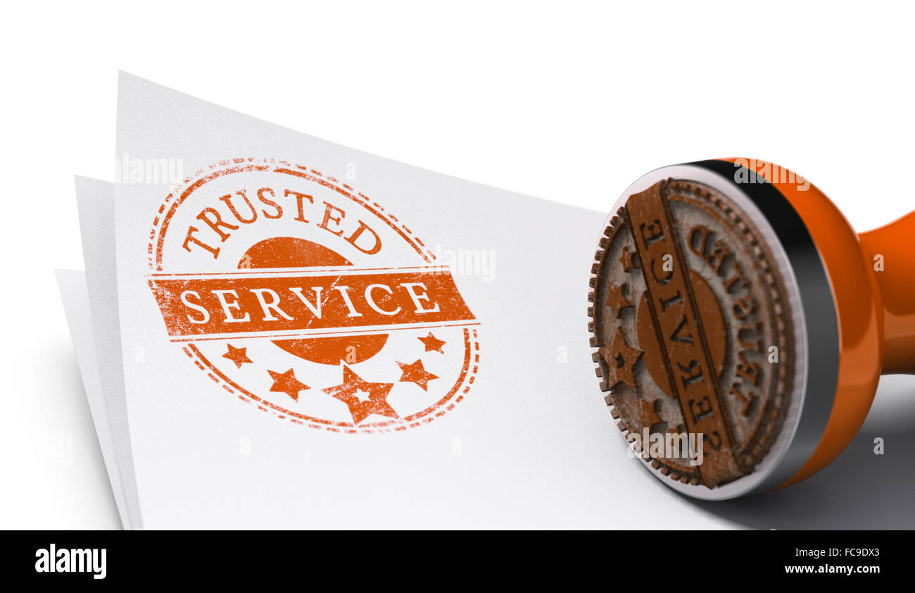 Rubber stamp image with the text trusted service printed on a sheet of paper. Communication concept over white background - Stock Image
