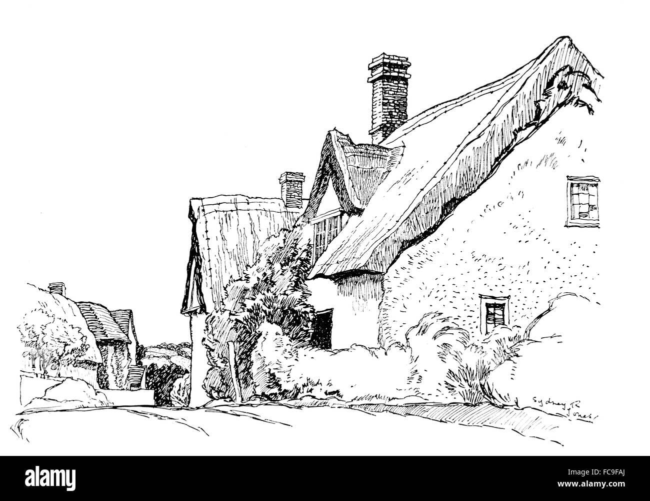 UK, England, Essex, Ashen, old thatched cottage beside road through village, 1911, line illustration by Sydney R - Stock Image